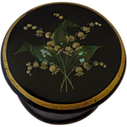 Victorian Papier Mache Powder Box Painted and Shell inlaid Decoration