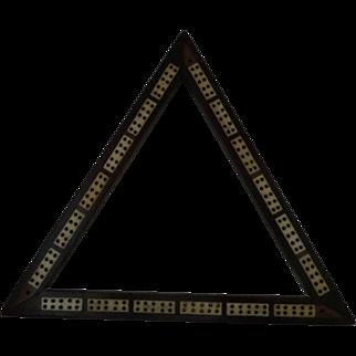 Triangular Cribbage Board Bone Inlaid Hardwood Treen Nineteenth Century