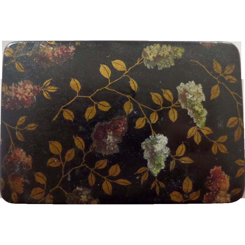 Papier Mache Victorian Stamp Box, Hand Painted Leaf Decoration