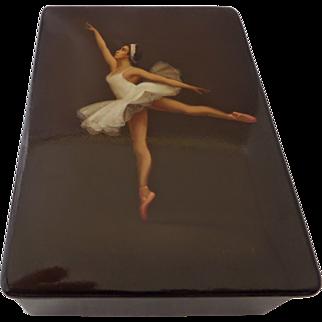 Russian Ballet Dancer Papier Mache Lacquer Box Artist Signed Hand Painted