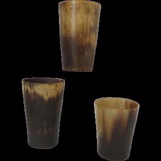 Horn Beakers Nineteenth Century group of three Set A