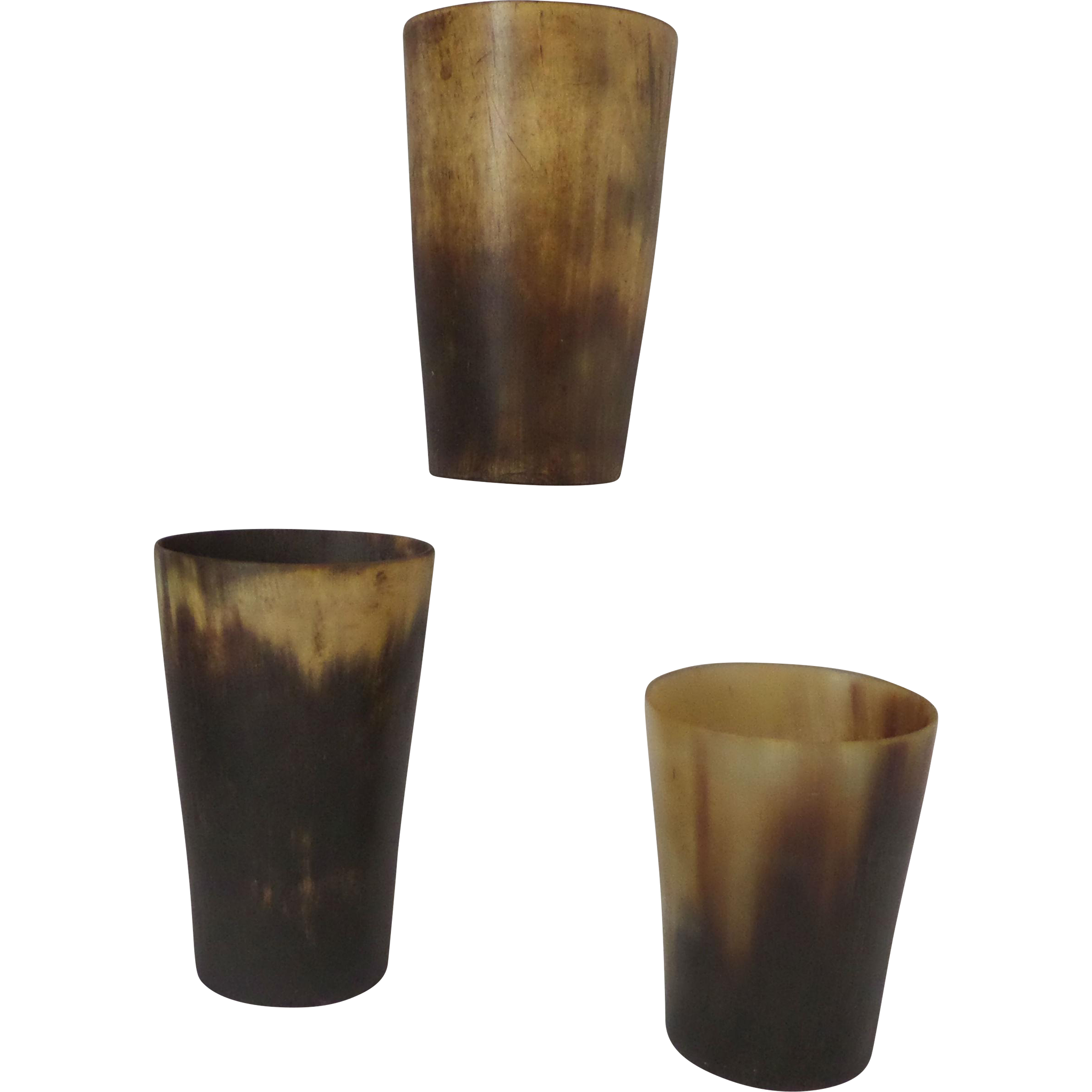 Horn Beakers Nineteenth Century group of three Set A
