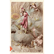 Art Nouveau New Year Postcard Mastroianni  1910