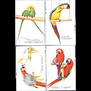 Lawson Wood Parrot Postcards Artist signed 1923 set of Four