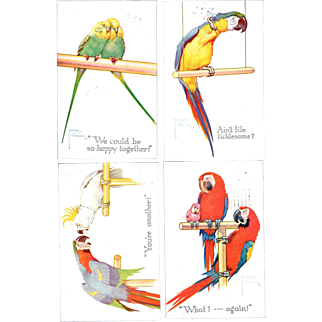 Lawson Wood Parrot Postcards Artist signed 1923 set of Four