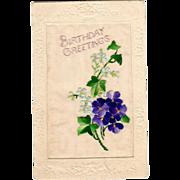 Raphael Tuck Postcard Embroidered Flowers Broderie D'Art series Birthday Greetings