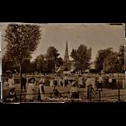 The Pond, Clapham Common, London Children Real Photo Postcard 1913