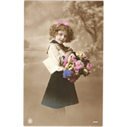 Little Girl with Roses Tinted Real Photo Postcard No. 2