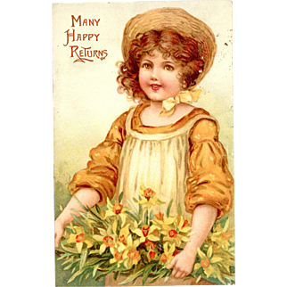 Raphael Tuck Postcard Many Happy Returns Flower Maidens series No. 6948.  1908