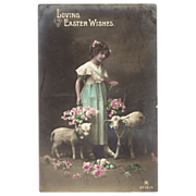Real Photographic Easter Postcard Little Girl, Lambs and flowers  Carlton Publishing Co. England 1915 - Red Tag Sale Item