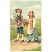 Belgium Embossed Postcard Boy and Girl Collecting Flowers