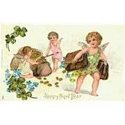 German Embossed Happy New Year Postcard Chromo-Lithograph