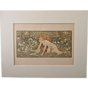 John D. Batten 1860 - 1932 Eve And The Serpent Original Chromo Lithograph Print 1896 - Red Tag Sale Item