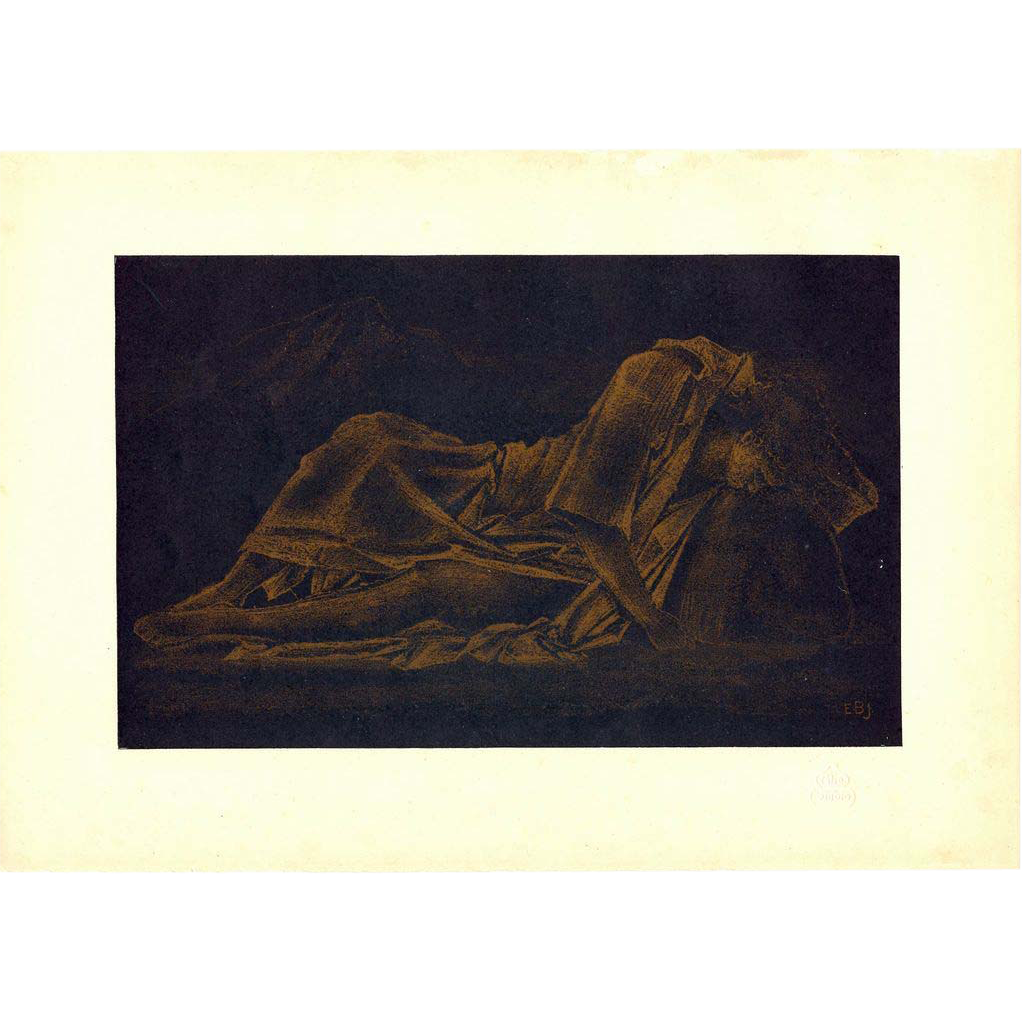 Sir Edward Burne-Jones Study in Gold Chromo Lithograph Print 1899 The Studio