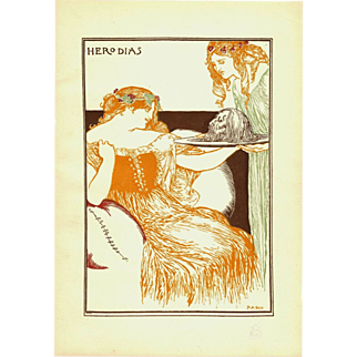 Robert Anning Bell 'Herodias' Original  Chromo Lithograph Print 1896