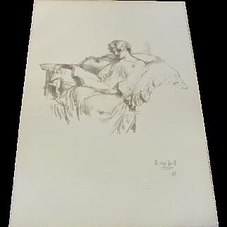 Robert Anning Bell 'The Music Score' Lithograph Print 1898