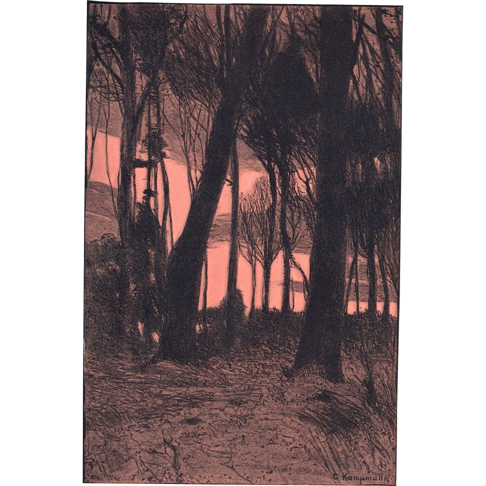 Gustav Kampmann Original Chromo Lithograph Print 1899 German Expressionist Art