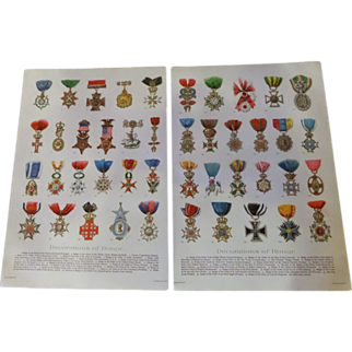 """Decorations of Honor - Pair of Chromo Lithograph Prints 1900 Royalty Military Religious 12"""" x 8. 1/4"""""""