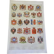 "National Coats of Arms Chromo Lithograph Print 1900.  12"" x 8. 1/4"""