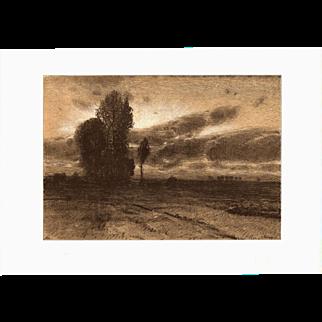 Eugen Kampf 'Flemish Landscape' Chromo Lithograph Print German Impressionist Art C1899