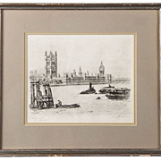 Signed Print of a Westminster Etching