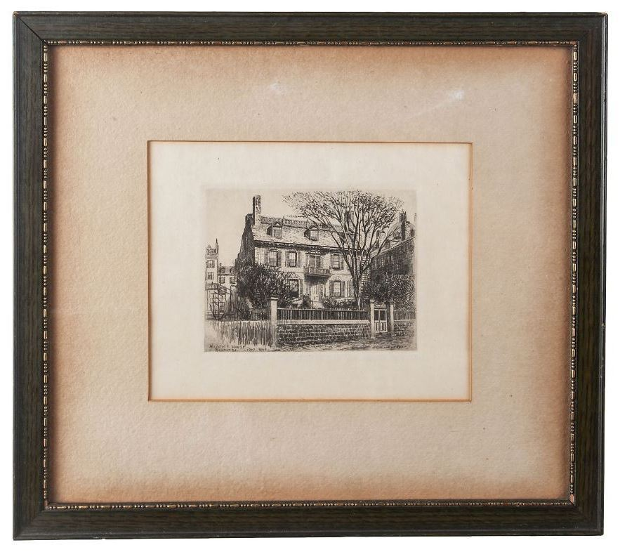 Print Of An Etching Of Hancock House Boston Ma From