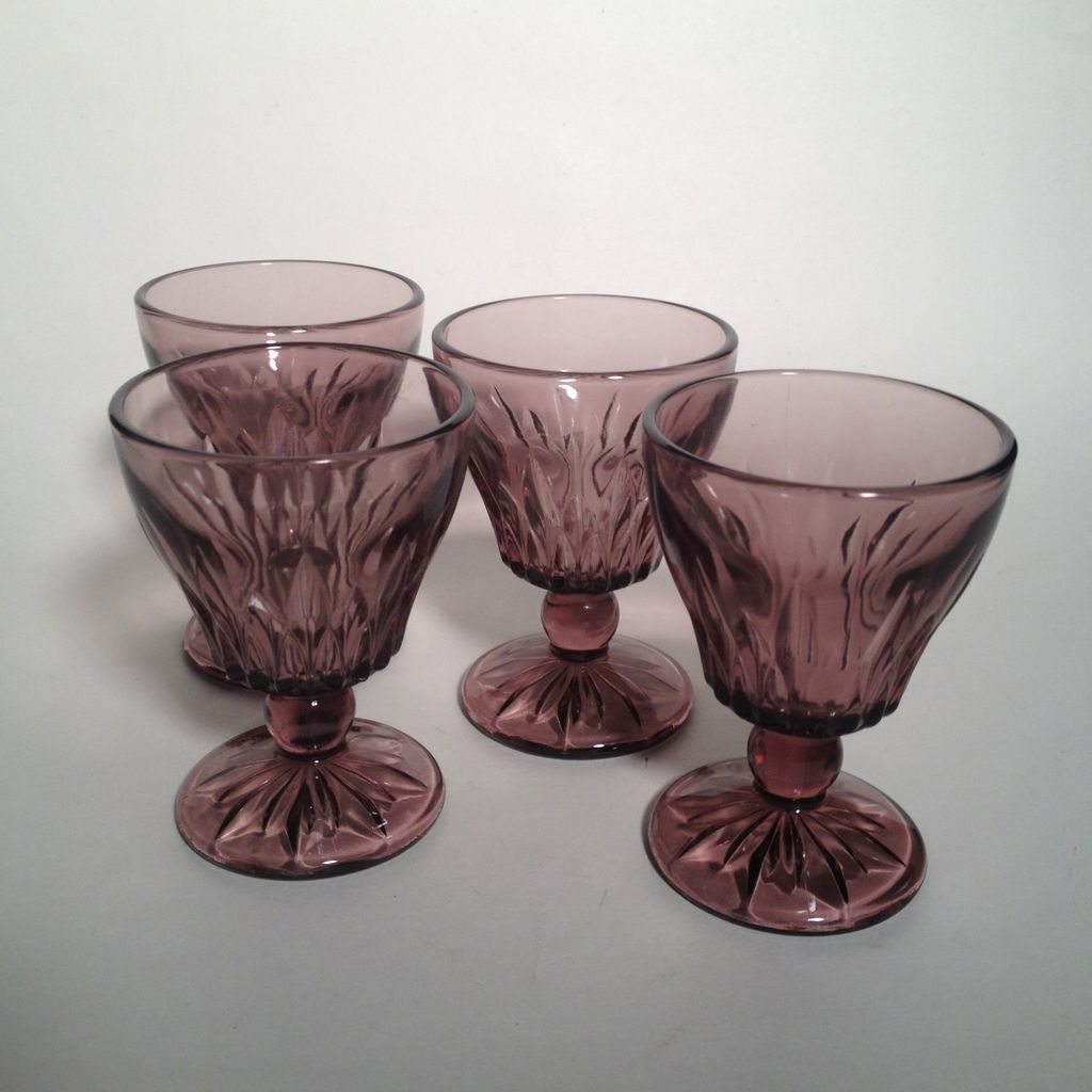 Set of Four Amethyst Colored Cordial Glasses