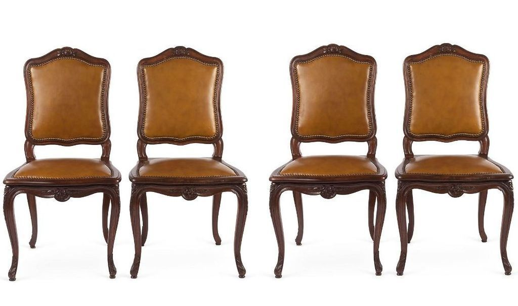 Set of 4 French Walnut amp Leather Dining Chairs from  : 11161L from www.rubylane.com size 1024 x 606 jpeg 68kB