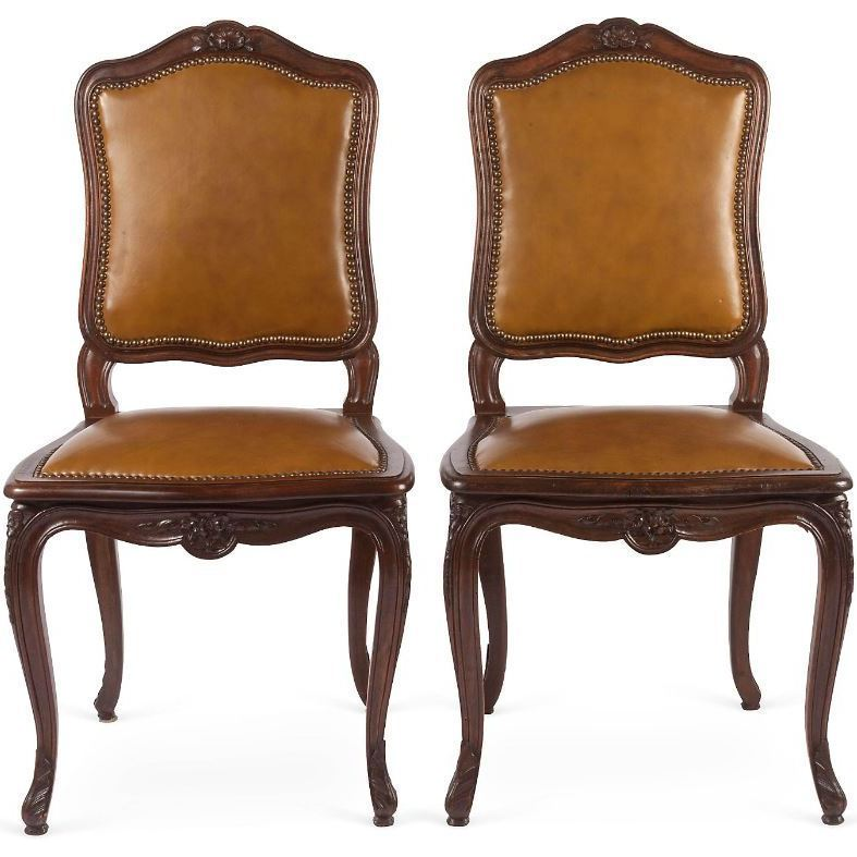 Set of 4 French Walnut amp Leather Dining Chairs from  : 11162L from www.rubylane.com size 787 x 787 jpeg 69kB
