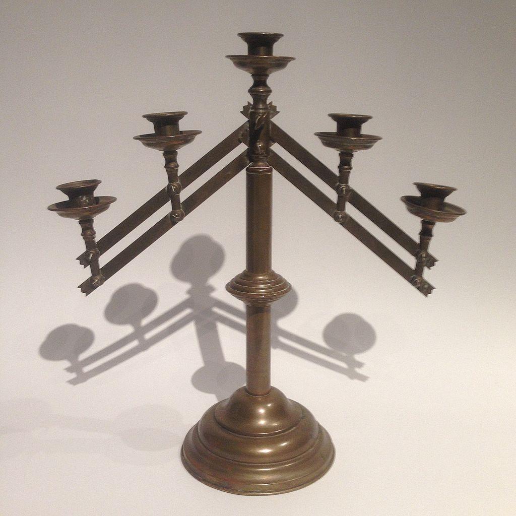 Vintage Brass Five Arm Altar Candelabra