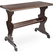 Early 1900s Walnut Trestle Table with Lower Shelf