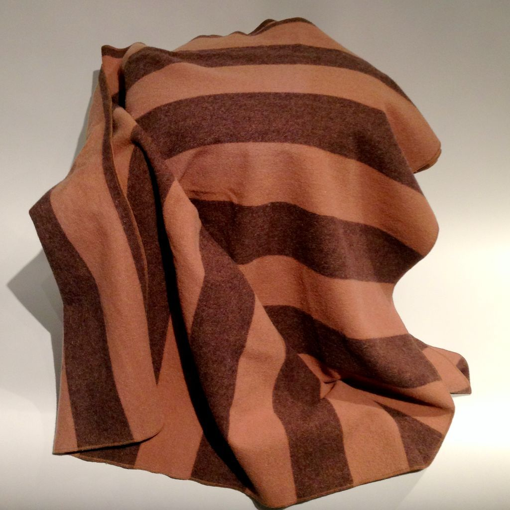 Vintage Warm Wool Striped Blanket From