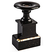 Black & Rosa Marble Pedestal with Etched Detail