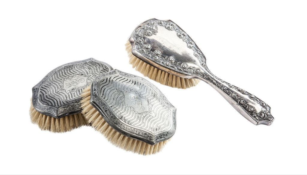 Vintage Silverplate Hair and Clothing Brushes c1930s