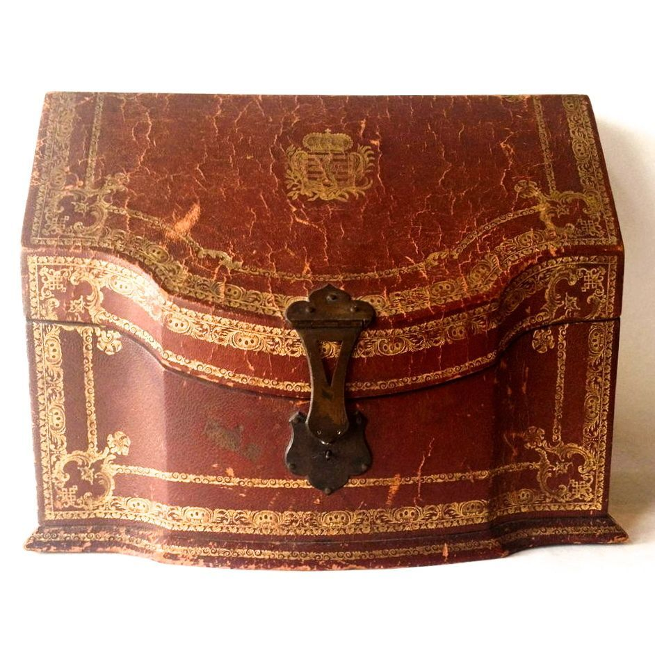 Antique Italian Leather Letter Box From
