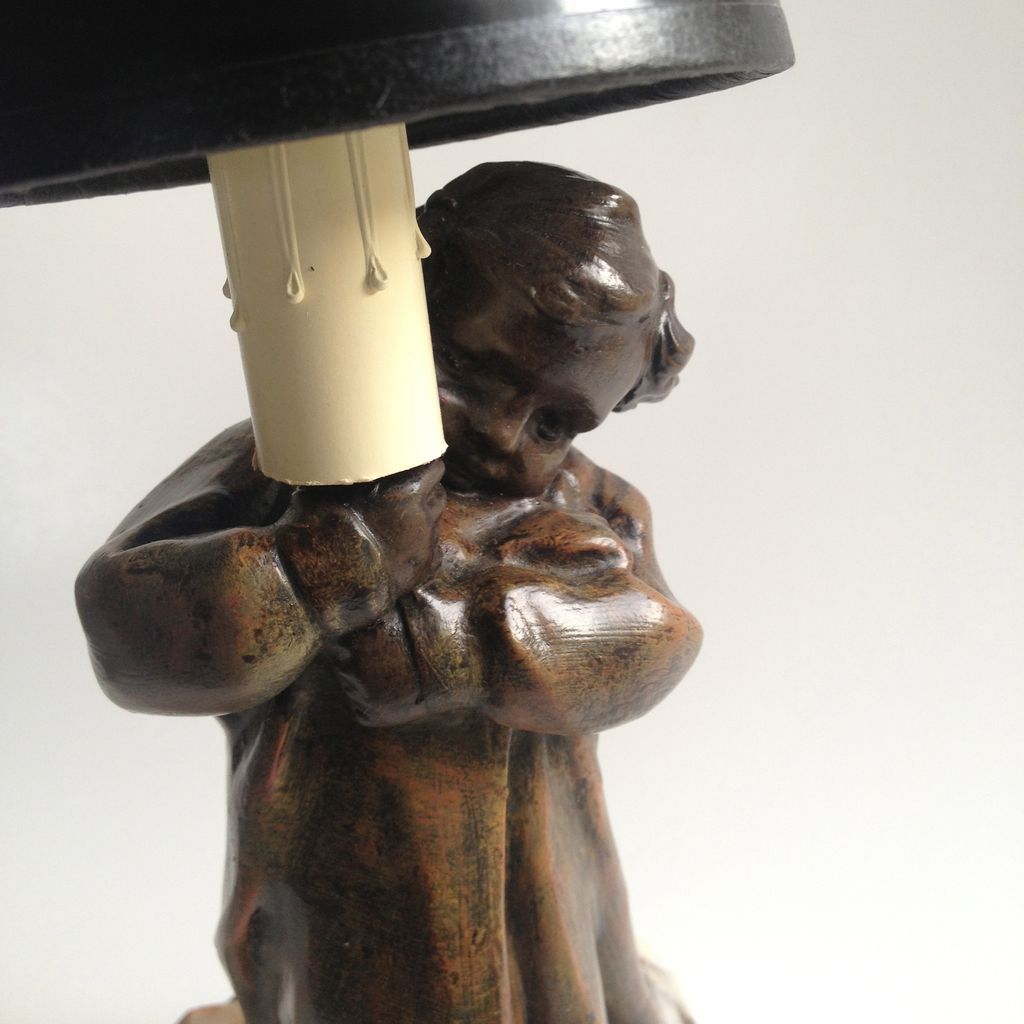 Spelter Figural Lamp by French Sculptor Mednat