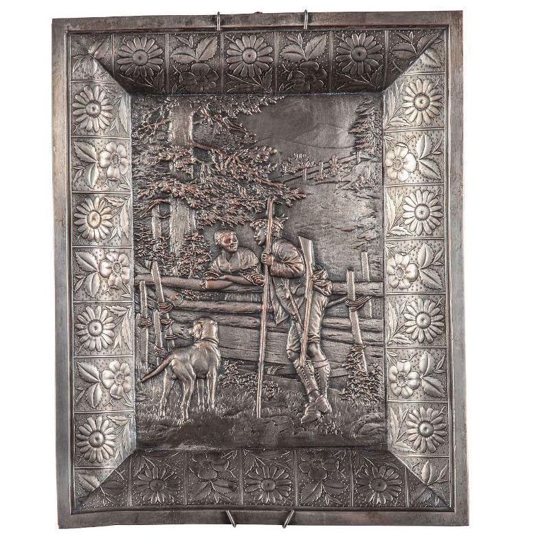 French Hammered Tin Bas-Relief Wall Plaque France