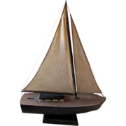 Vintage Primitive Ship Sailboat Model on Wooden Stand