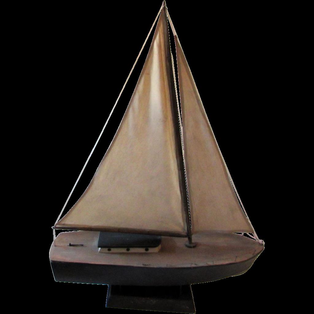 Vintage Primitive Ship Sailboat Model on Wooden Stand
