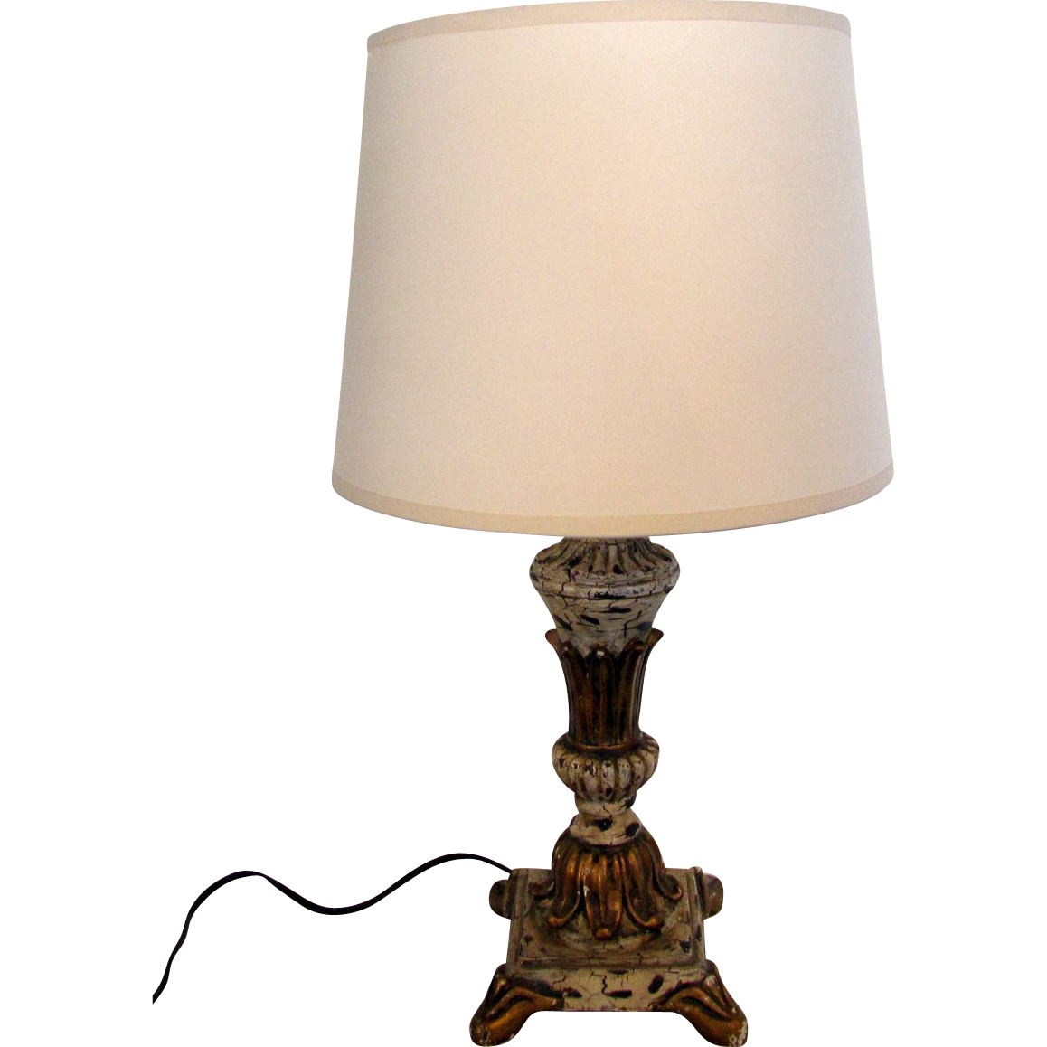 Vintage French Wooden Table Lamp