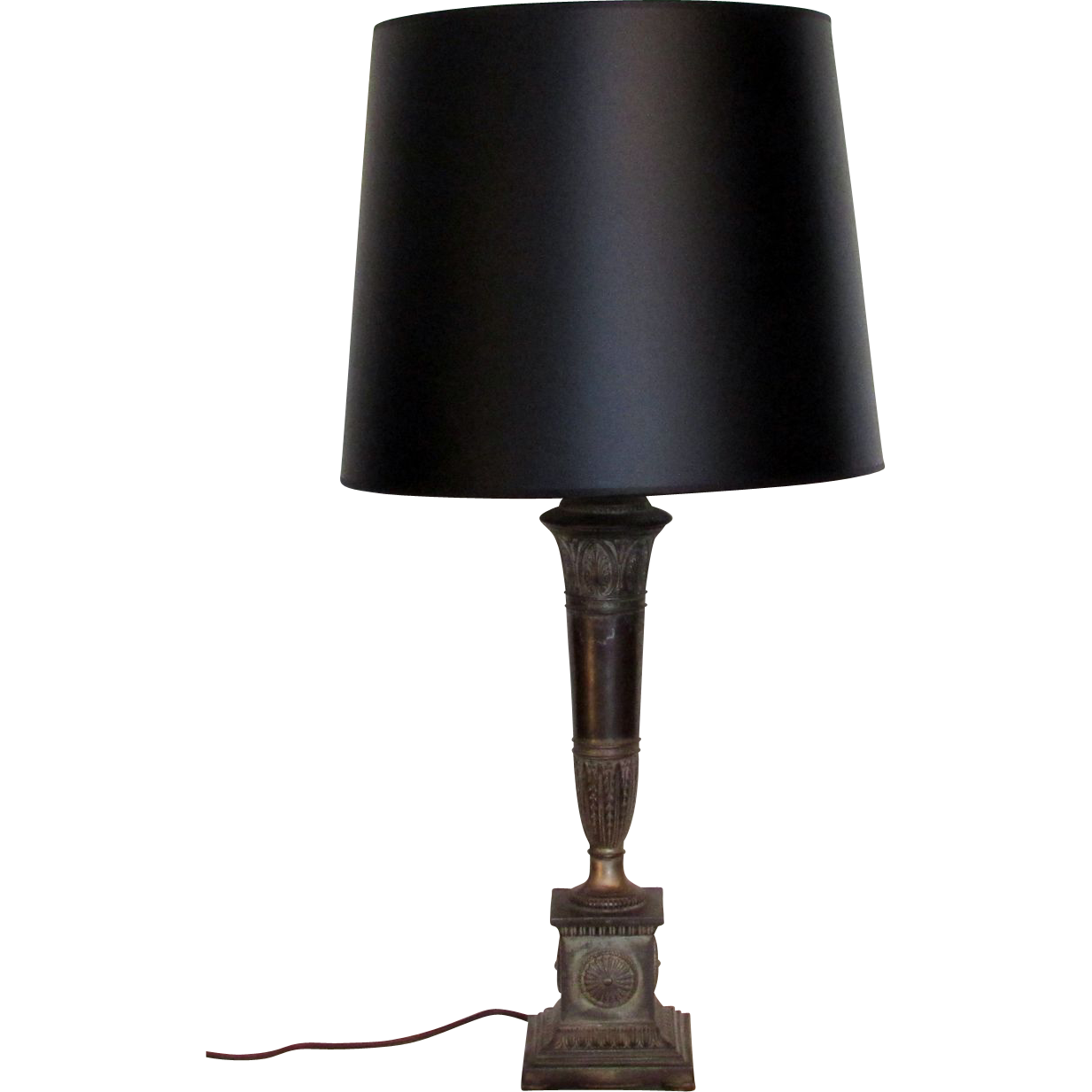 Vintage French Empire Table Lamp with Black Shade