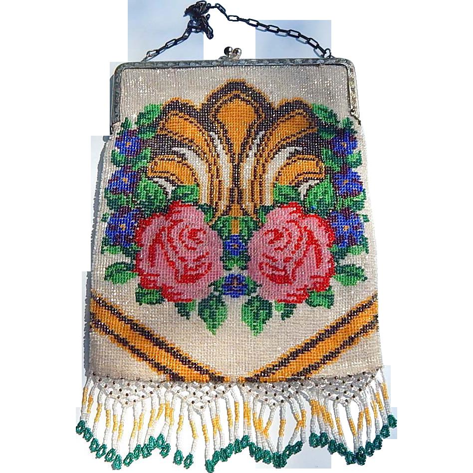 vintage micro beaded floral design purse red tag sale item sold on ruby lane. Black Bedroom Furniture Sets. Home Design Ideas