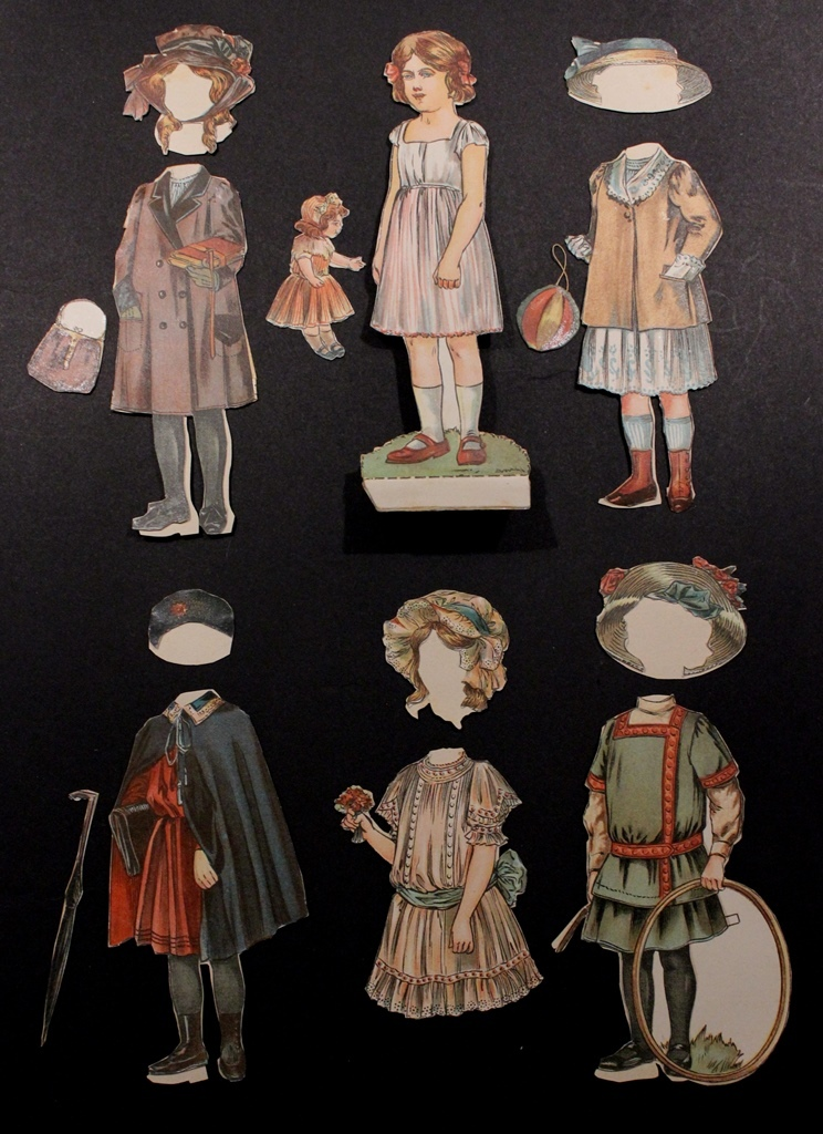 1900 Antique Child Paper Doll with Accessories