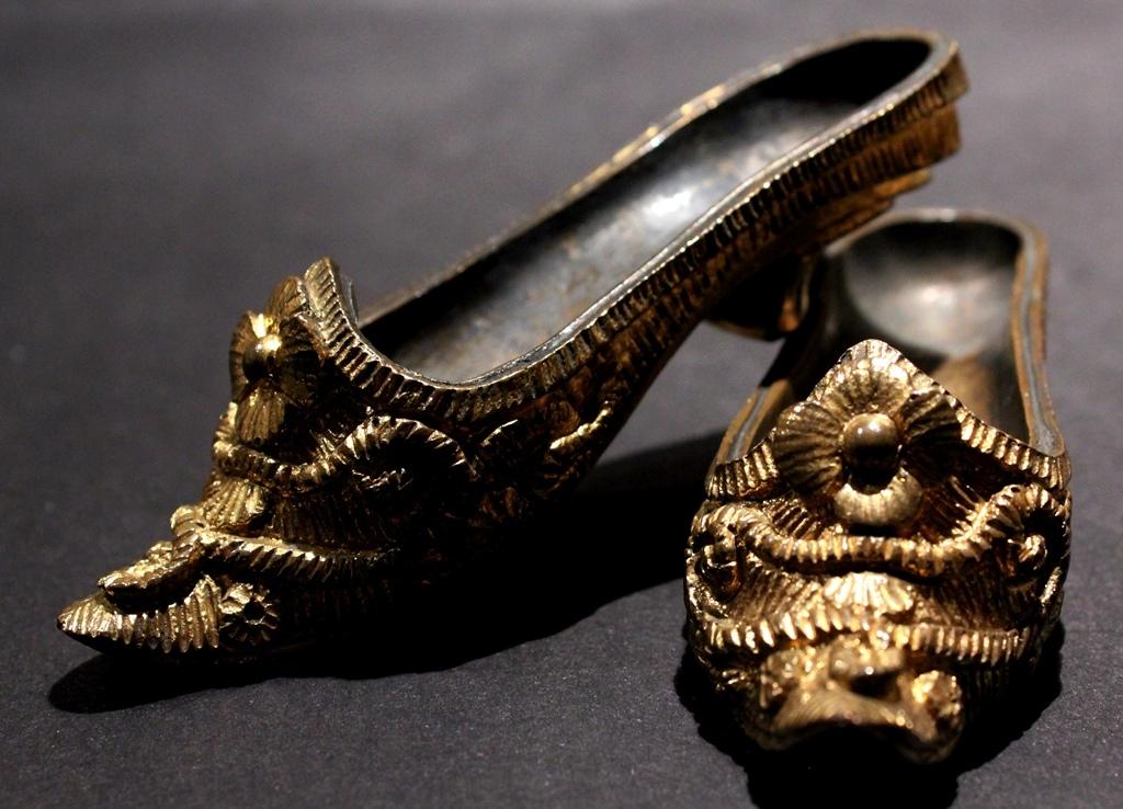 Antique Gilt Metal Shoes for Vitrine