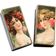 Pair of Chromo Lithograph Boxes Decorated with Young Ladies