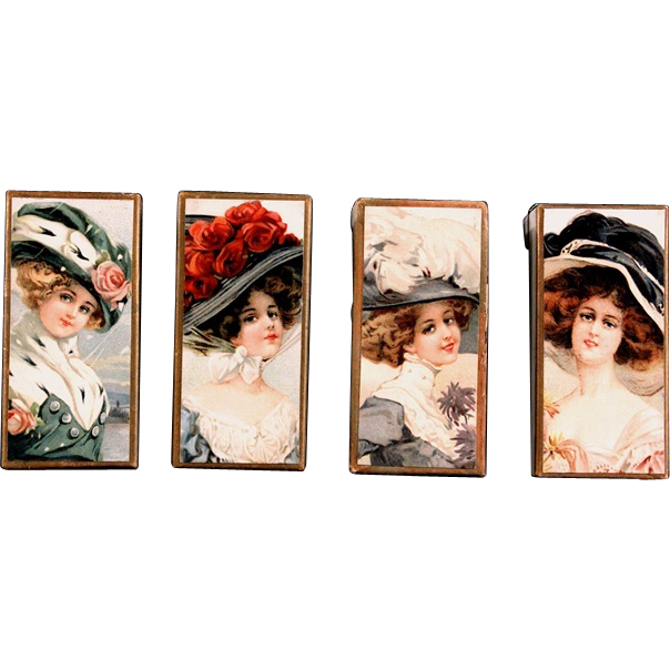 Set of Chromo Lithograph Boxes Decorated with a Series of Beauties