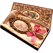 Antique Gilt Metal Hand Mirror for Poupee in Presentation Box