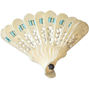 Miniature Antique Pierced French Doll Fan