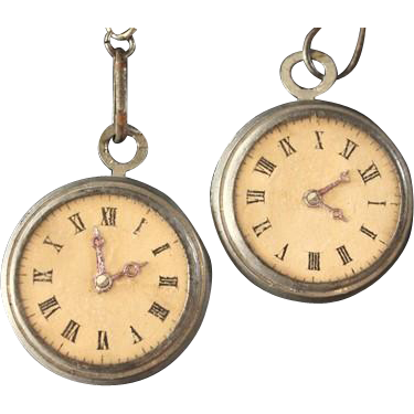 Pair of White Metal Pocket Watches