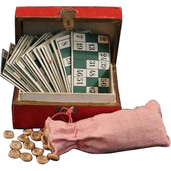 Antique Miniature French Loto Lotto Game in Original Box